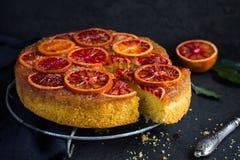 Upside down blood orange cake Royalty Free Stock Images