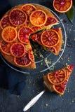 Upside down blood orange cake. Top view Royalty Free Stock Image