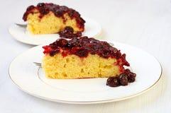 Upside down cake. Cherry cornmeal upside down cake Royalty Free Stock Photography