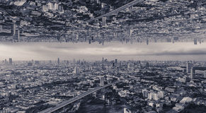 Upside down city,. Sci-fi city, background Stock Photos
