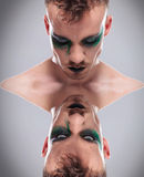 Upside down dual casual man with makeup Royalty Free Stock Photo