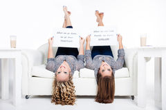 Upside down friends Royalty Free Stock Photos