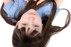 Upside down girl Royalty Free Stock Image