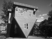 Upside down house. In Moscow, VDNKH in Black&white stock photography