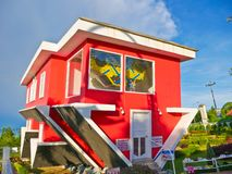 Upside down house at Pattaya,Thailand. stock photo
