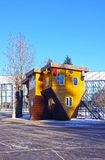 Upside down house in the Russian Exhibition Center in Moscow Stock Photos