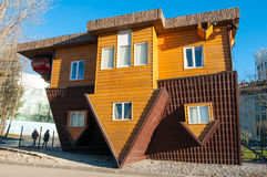 An Upside-down house in VDNKh park. Moscow. Stock Photo