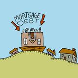 Upside Down Mortgage Debt Stock Images