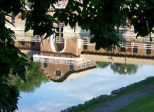 Upside Down Onondaga Park Bathhouse Reflection Stock Photo
