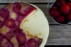 Upside Down Plum Cake - Top View Royalty Free Stock Photos