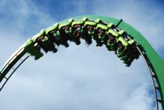 Upside Down Roller Coaster. A blurred car going fast upside down on a roller coaster ride Stock Photos