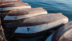 Upside Down Rowboats Stock Images