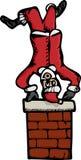 Upside-Down Santa. Drawing of an upside-down Santa Claus on top of a brick chimney Royalty Free Stock Photo