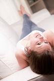Upside down smile of a nice girl Stock Photography
