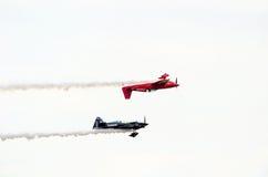 Upside down stunt plane Royalty Free Stock Photography