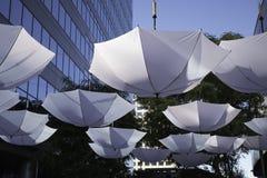 Upside down umbrellas. White umbrellas hanging upside down in the courtyard of Cityscape Phoenix, Arizona Stock Photos