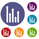 Upside growing arrows icons set. In flat circle reb, blue and green color for web Royalty Free Stock Image