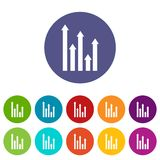 Upside growing arrows set icons Royalty Free Stock Photography
