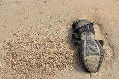 Upside sandal on sand. Things after the tide. Upside sandal, sand. Things after surf, old sole, old shoe, ocean gifts, after the tide trash, india beach trash royalty free stock photo