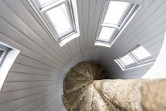 Upside view of a spiral staircase Royalty Free Stock Photos