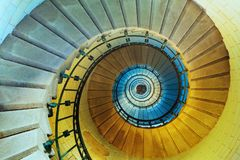 Upside view of a spiral staircase in lighthouse or tower royalty free stock photography