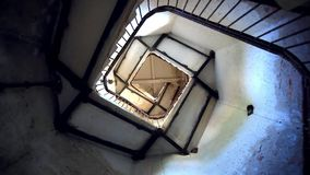 Upside view of spiral stairway case in lighthouse. HD. 1920x1080 stock video