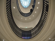 Upside view staircase. Spiral staircase in Glasgow, Scotland. Museum Uk Stock Photos