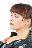 Upstage pretty young woman with tatoo on neck Royalty Free Stock Image