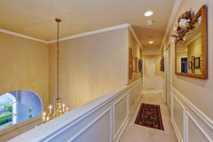 Upstairs hallway in luxury house Stock Images