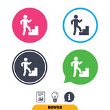 Upstairs icon. Human walking on ladder sign. Stock Images