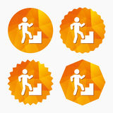 Upstairs icon. Human walking on ladder sign. Stock Photography