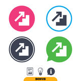 Upstairs icon. Up arrow sign. Report document, information sign and light bulb icons. Vector Royalty Free Stock Photos