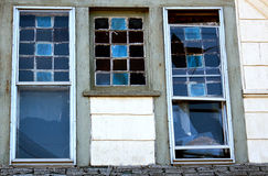 Upstairs outside blue gable windows Royalty Free Stock Photos
