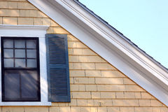 Upstairs Window of a New England Home Royalty Free Stock Image