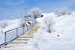 Upstairs in winter. Landscape with upstairs in winter all in snow Royalty Free Stock Photography