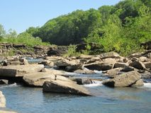 Upstream in Beautiful Rock Island State Park at th. Good trout fishing spot in the Spring in Rock Island State Park Tennessee Royalty Free Stock Photo