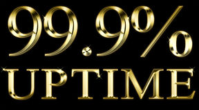 Uptime 99 por cento no preto Fotos de Stock Royalty Free