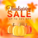 Upto 50% discount offer for Thanksgiving sale banner or poster d. Esign with illustration of pumpkins on blurred maple leaves background stock illustration