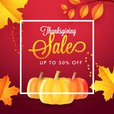 Upto 50% discount offer for Thanksgiving sale, banner or poster. Design with illustration of pumpkins, maple or autumn leaves on red shiny background stock illustration