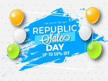 Upto 50% discount offer with tricolor balloons on dotted backgro. Und for Republic Sale Day poster design stock illustration