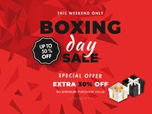 Upto 50% -30% extra discount offer with gift boxes on red geomet. Ric abstract background for Boxing Day sale banner or poster design vector illustration