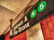 Uptown ad Bronx subway sign, Manhattan, New York Stock Image