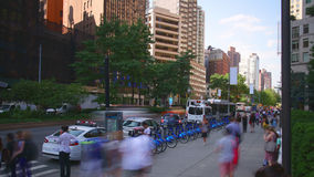 Uptown broadway day light traffic 4k time lpase from new york. City stock video