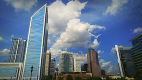 Uptown Charlotte Skyline. This photo is a picture taken of the uptown area located in the city of Charlotte North Carolina. It features the Duke Energy building Stock Photography