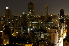 Uptown Manhattan from 59th & 2nd. Looking north from 59th Street & 2nd Avenue in Manhattan at night stock images