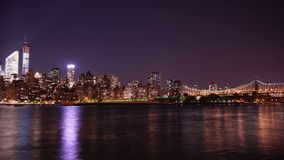 Uptown manhattan night light queensboro bridge 4k time lapse queens new york stock video