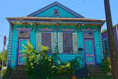 Uptown New Orleans Home. Weathered but colorful Painted Lady house in Uptown New Orleans, Louisiana royalty free stock images