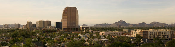 Uptown Phoenix Panorama near Dusk Royalty Free Stock Images