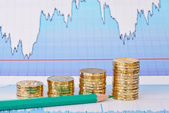 Uptrend golden coin stacks, green pencil and financial chart Stock Photo