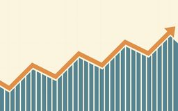 Uptrend line arrows with bar chart in flat icon design on yellow color background. Uptrend line arrows with bar chart in flat icon design on yellow color Stock Image
